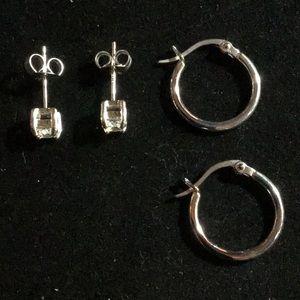 Sterling Silver Hoop and CZ Stud Earrings Set